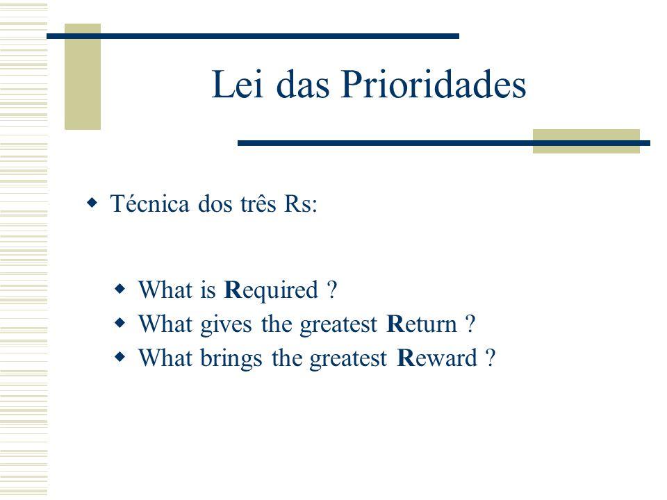 Lei das Prioridades Lei de Pareto (80-20). Técnica dos três Rs. medir a actividade definir prioridades Duas técnicas para medir a actividade pessoal (