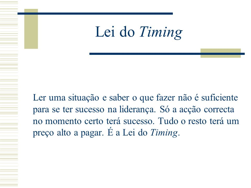 Lei do Timing