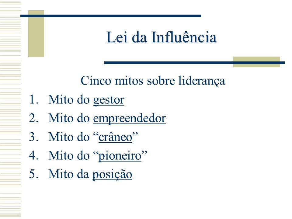 Lei da Influência Cinco mitos sobre liderança 1.Mito do gestor 2.Mito do empreendedor 3.Mito do crâneo 4.Mito do pioneiro 5.Mito da posição