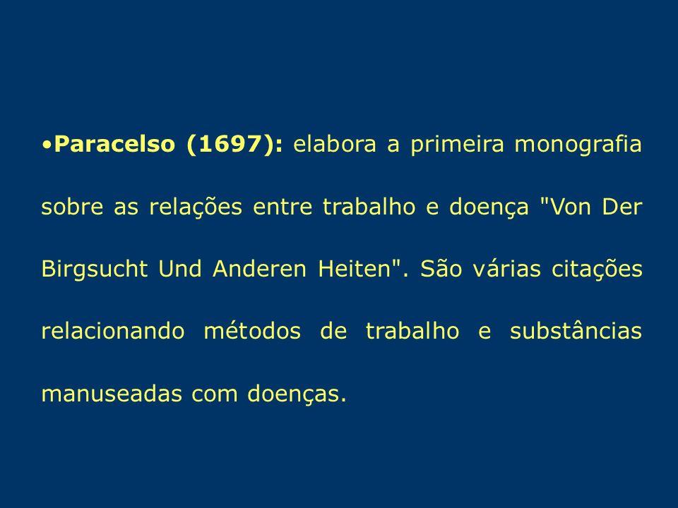 Paracelso (1697): elabora a primeira monografia sobre as relações entre trabalho e doença