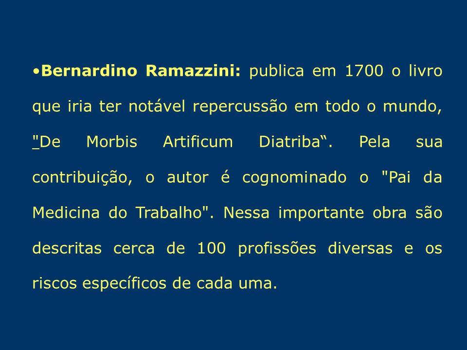 Bernardino Ramazzini: publica em 1700 o livro que iria ter notável repercussão em todo o mundo,