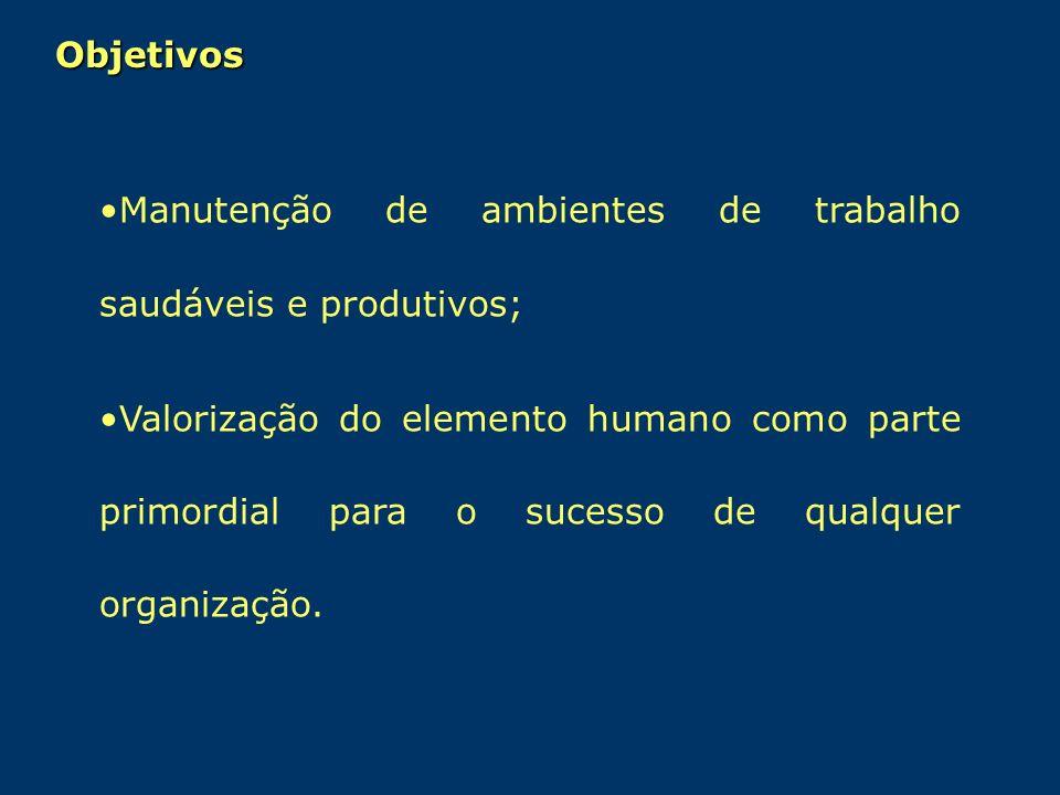 Manutenção de ambientes de trabalho saudáveis e produtivos; Valorização do elemento humano como parte primordial para o sucesso de qualquer organizaçã