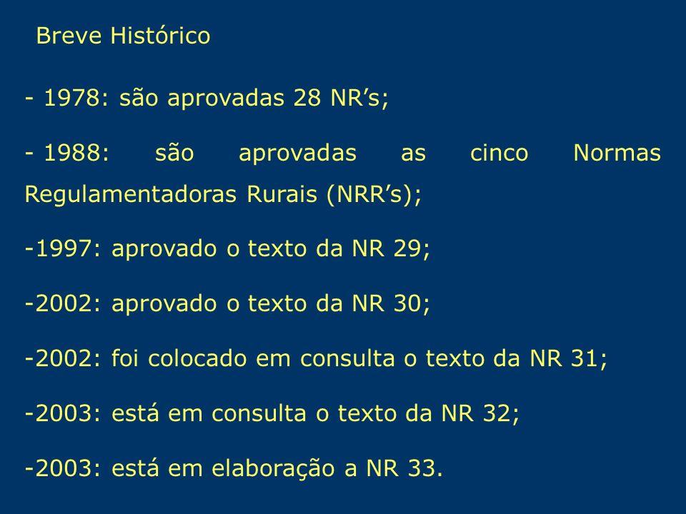- 1978: são aprovadas 28 NRs; - 1988: são aprovadas as cinco Normas Regulamentadoras Rurais (NRRs); -1997: aprovado o texto da NR 29; -2002: aprovado
