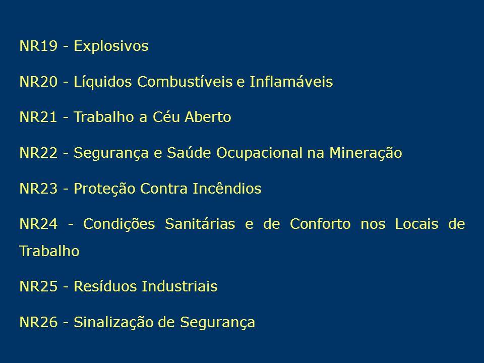 NR19 - Explosivos NR20 - Líquidos Combustíveis e Inflamáveis NR21 - Trabalho a Céu Aberto NR22 - Segurança e Saúde Ocupacional na Mineração NR23 - Pro