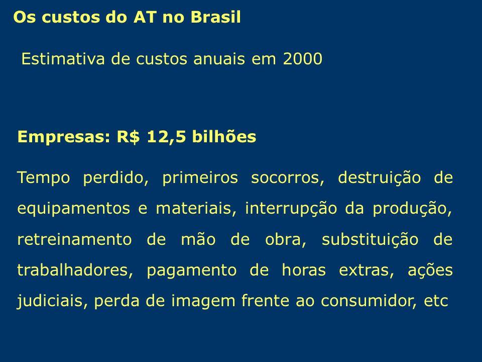 Estimativa de custos anuais em 2000 Os custos do AT no Brasil Empresas: R$ 12,5 bilhões Tempo perdido, primeiros socorros, destruição de equipamentos