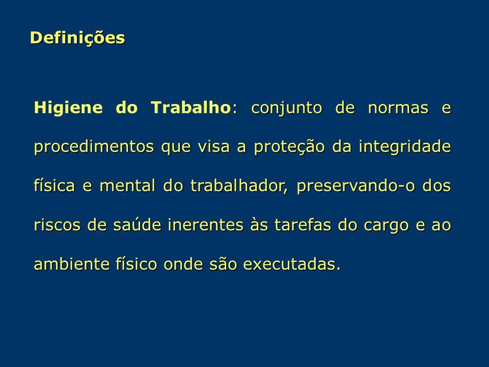 Definições : conjunto de normas e procedimentos que visa a proteção da integridade física e mental do trabalhador, preservando-o dos riscos de saúde i