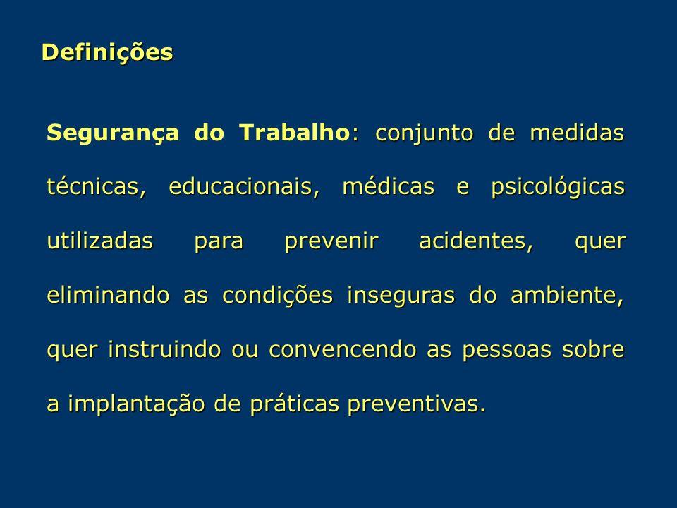 Definições : conjunto de medidas técnicas, educacionais, médicas e psicológicas utilizadas para prevenir acidentes, quer eliminando as condições inseg