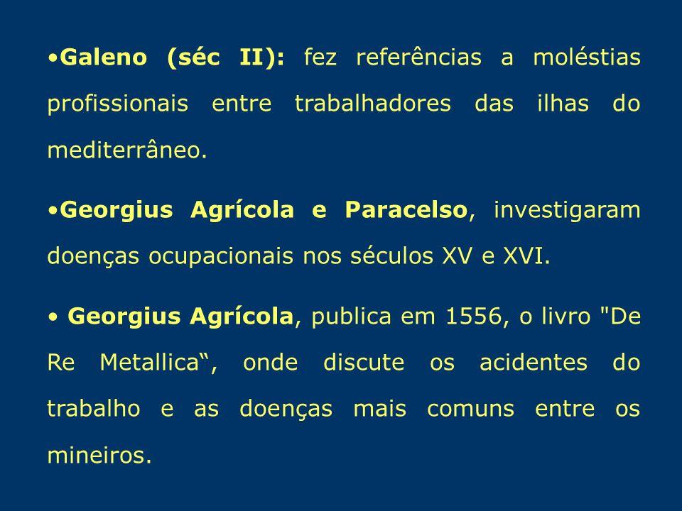 Galeno (séc II): fez referências a moléstias profissionais entre trabalhadores das ilhas do mediterrâneo. Georgius Agrícola e Paracelso, investigaram