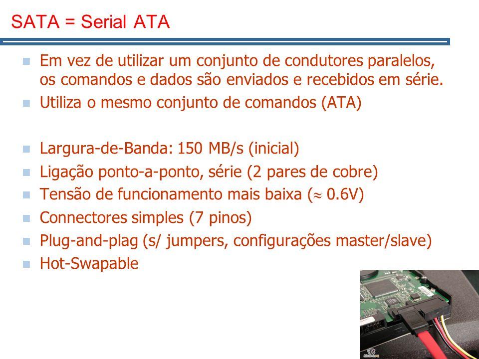 15 SATA = Serial ATA Em vez de utilizar um conjunto de condutores paralelos, os comandos e dados são enviados e recebidos em série.