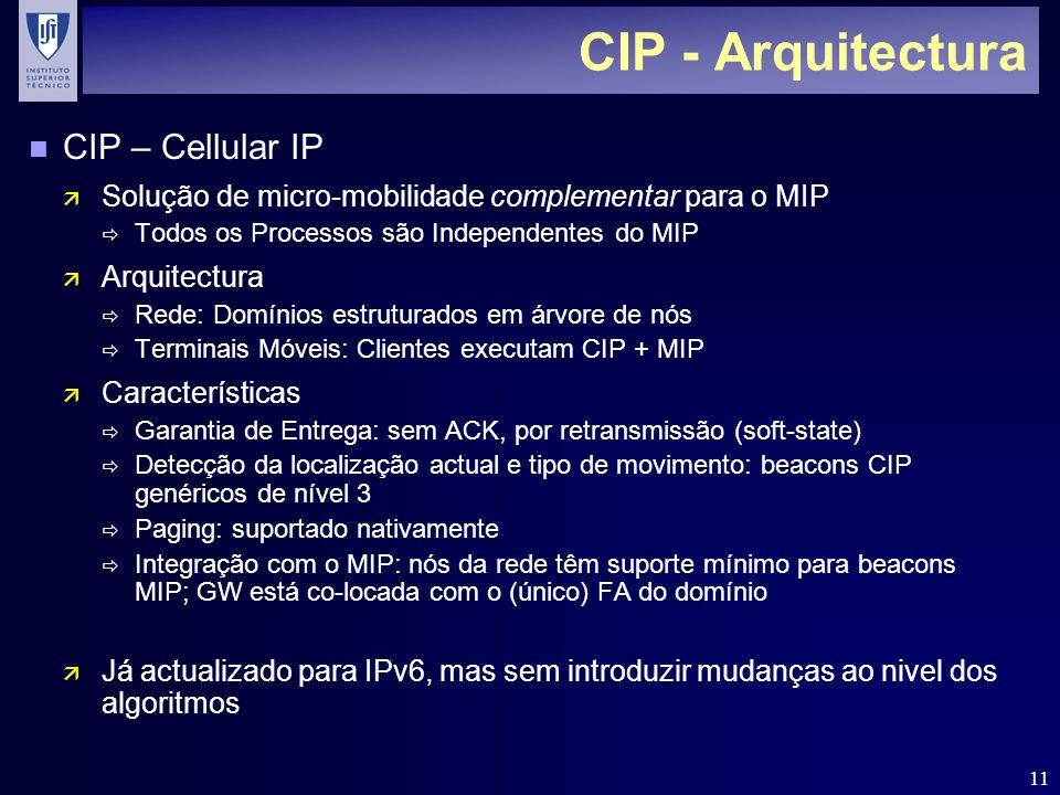 11 CIP - Arquitectura n CIP – Cellular IP ä Solução de micro-mobilidade complementar para o MIP Todos os Processos são Independentes do MIP ä Arquitectura Rede: Domínios estruturados em árvore de nós Terminais Móveis: Clientes executam CIP + MIP ä Características Garantia de Entrega: sem ACK, por retransmissão (soft-state) Detecção da localização actual e tipo de movimento: beacons CIP genéricos de nível 3 Paging: suportado nativamente Integração com o MIP: nós da rede têm suporte mínimo para beacons MIP; GW está co-locada com o (único) FA do domínio ä Já actualizado para IPv6, mas sem introduzir mudanças ao nivel dos algoritmos
