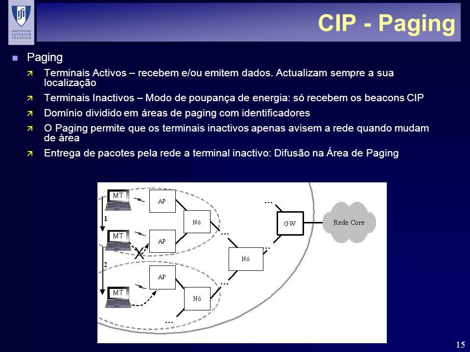 15 CIP - Paging n Paging ä Terminais Activos – recebem e/ou emitem dados. Actualizam sempre a sua localização ä Terminais Inactivos – Modo de poupança