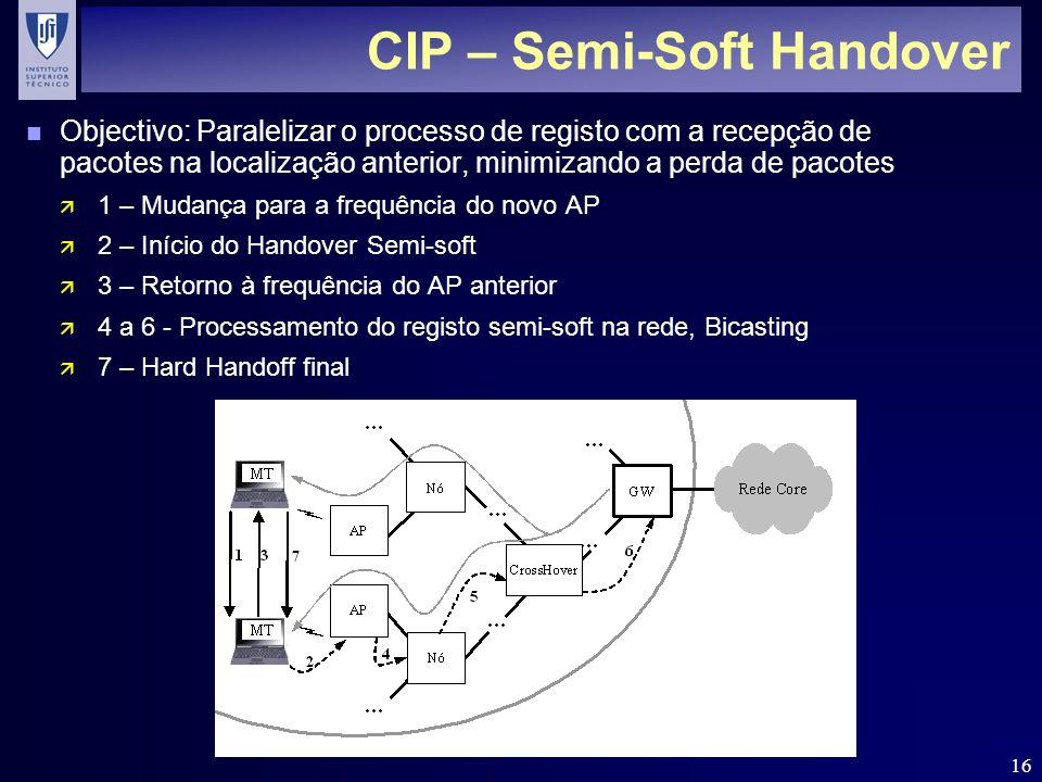 16 CIP – Semi-Soft Handover n Objectivo: Paralelizar o processo de registo com a recepção de pacotes na localização anterior, minimizando a perda de pacotes ä 1 – Mudança para a frequência do novo AP ä 2 – Início do Handover Semi-soft ä 3 – Retorno à frequência do AP anterior ä 4 a 6 - Processamento do registo semi-soft na rede, Bicasting ä 7 – Hard Handoff final