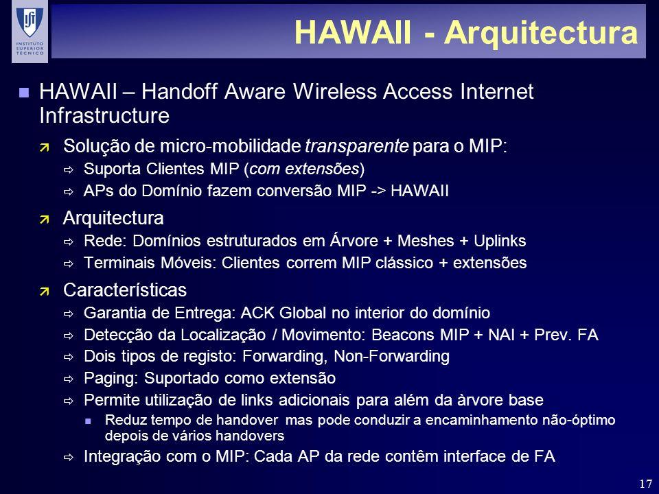 17 HAWAII - Arquitectura n HAWAII – Handoff Aware Wireless Access Internet Infrastructure ä Solução de micro-mobilidade transparente para o MIP: Suporta Clientes MIP (com extensões) APs do Domínio fazem conversão MIP -> HAWAII ä Arquitectura Rede: Domínios estruturados em Árvore + Meshes + Uplinks Terminais Móveis: Clientes correm MIP clássico + extensões ä Características Garantia de Entrega: ACK Global no interior do domínio Detecção da Localização / Movimento: Beacons MIP + NAI + Prev.
