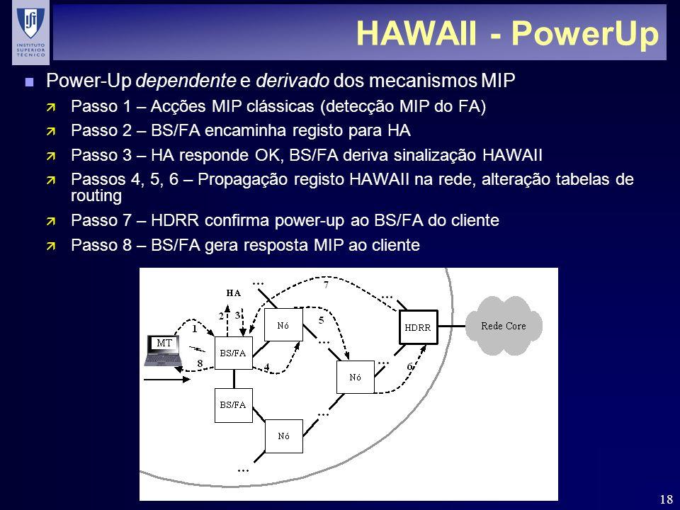 18 HAWAII - PowerUp n Power-Up dependente e derivado dos mecanismos MIP ä Passo 1 – Acções MIP clássicas (detecção MIP do FA) ä Passo 2 – BS/FA encaminha registo para HA ä Passo 3 – HA responde OK, BS/FA deriva sinalização HAWAII ä Passos 4, 5, 6 – Propagação registo HAWAII na rede, alteração tabelas de routing ä Passo 7 – HDRR confirma power-up ao BS/FA do cliente ä Passo 8 – BS/FA gera resposta MIP ao cliente