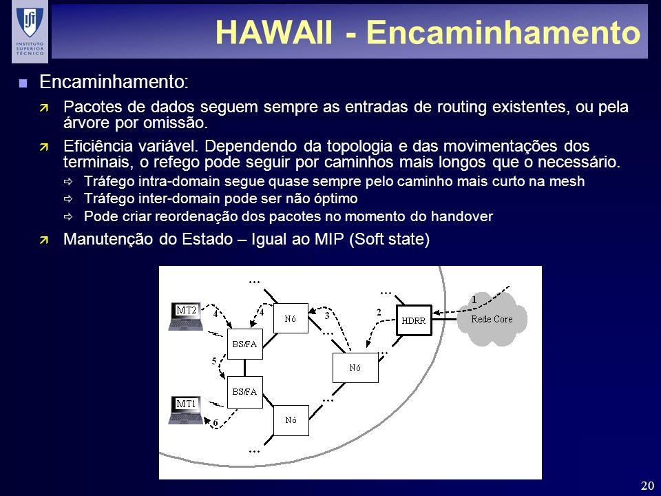 20 HAWAII - Encaminhamento n Encaminhamento: ä Pacotes de dados seguem sempre as entradas de routing existentes, ou pela árvore por omissão. ä Eficiên