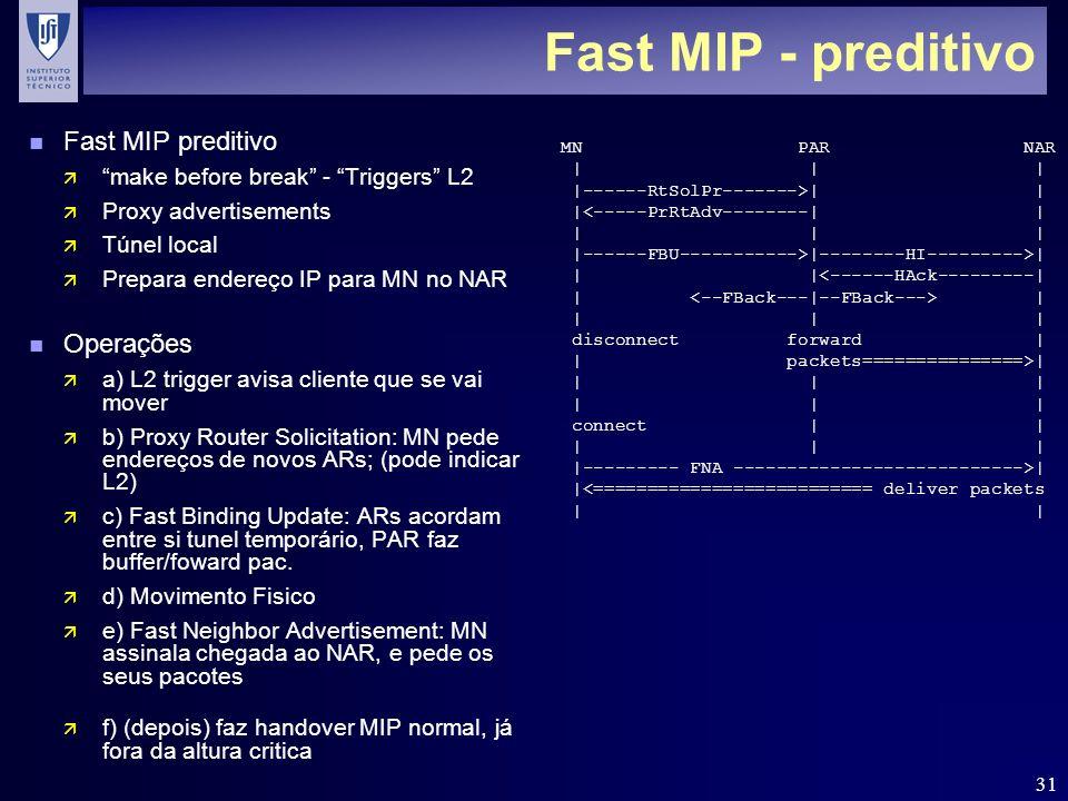 31 Fast MIP - preditivo n Fast MIP preditivo ä make before break - Triggers L2 ä Proxy advertisements ä Túnel local ä Prepara endereço IP para MN no NAR n Operações ä a) L2 trigger avisa cliente que se vai mover ä b) Proxy Router Solicitation: MN pede endereços de novos ARs; (pode indicar L2) ä c) Fast Binding Update: ARs acordam entre si tunel temporário, PAR faz buffer/foward pac.