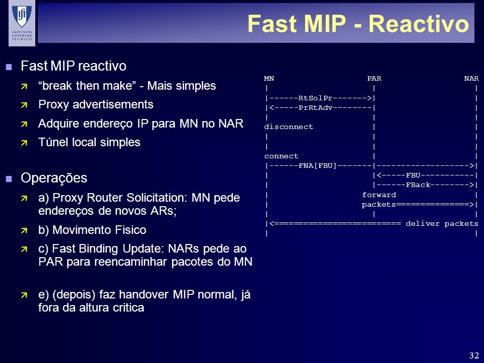 32 Fast MIP - Reactivo n Fast MIP reactivo ä break then make - Mais simples ä Proxy advertisements ä Adquire endereço IP para MN no NAR ä Túnel local simples n Operações ä a) Proxy Router Solicitation: MN pede endereços de novos ARs; ä b) Movimento Fisico ä c) Fast Binding Update: NARs pede ao PAR para reencaminhar pacotes do MN ä e) (depois) faz handover MIP normal, já fora da altura critica MN PAR NAR | | | |------RtSolPr------->| | |<-----PrRtAdv--------| | | | | disconnect | | | | | connect | | |------FNA[FBU]-------|------------------->| | |<-----FBU-----------| | |------FBack-------->| | forward | | packets===============>| | | | |<========================== deliver packets |