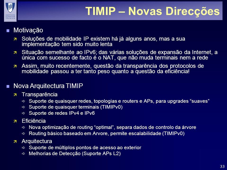 33 TIMIP – Novas Direcções n Motivação ä Soluções de mobilidade IP existem há já alguns anos, mas a sua implementação tem sido muito lenta ä Situação