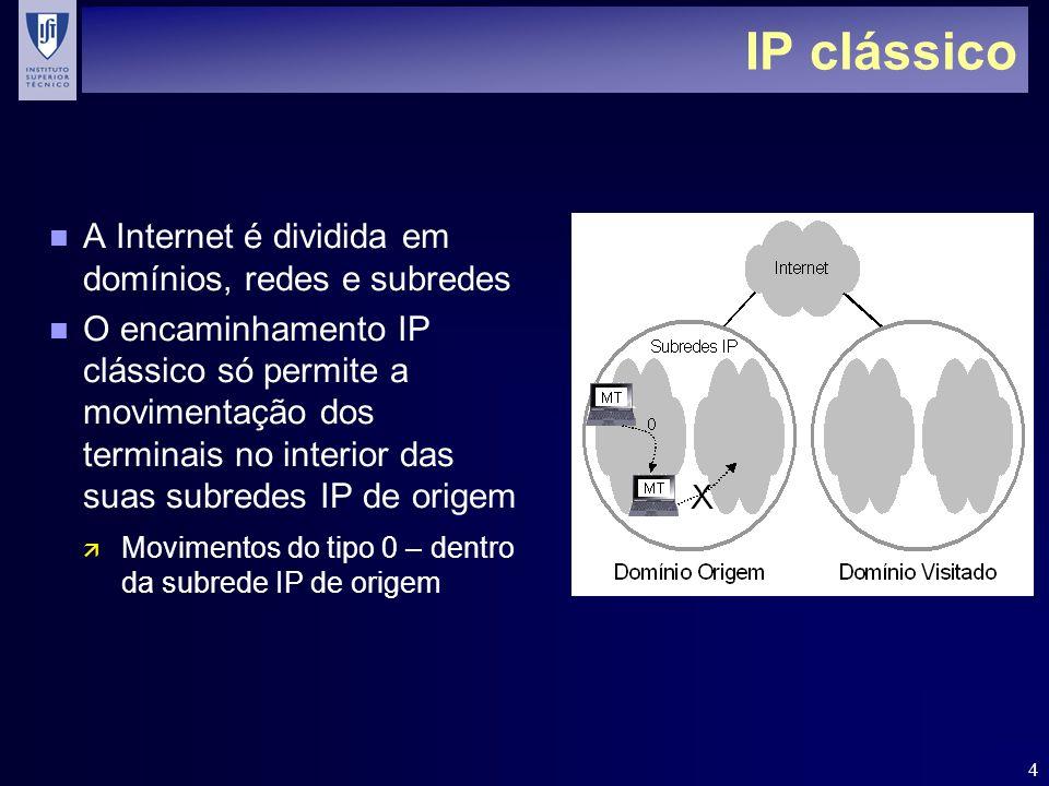 4 IP clássico n A Internet é dividida em domínios, redes e subredes n O encaminhamento IP clássico só permite a movimentação dos terminais no interior das suas subredes IP de origem ä Movimentos do tipo 0 – dentro da subrede IP de origem