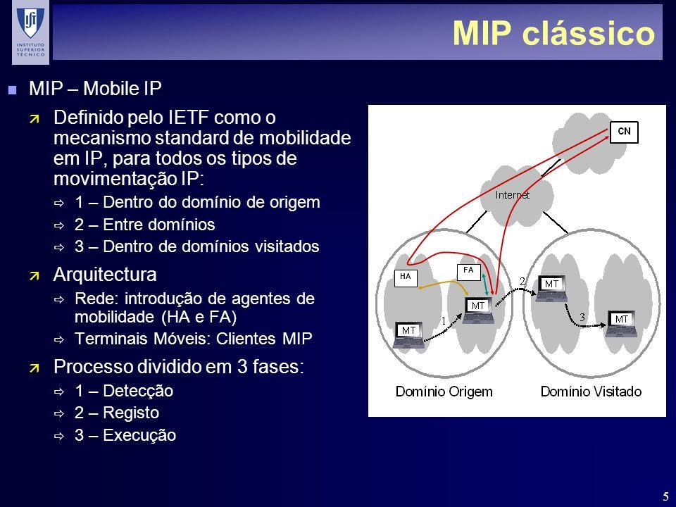 5 MIP clássico n MIP – Mobile IP ä Definido pelo IETF como o mecanismo standard de mobilidade em IP, para todos os tipos de movimentação IP: 1 – Dentro do domínio de origem 2 – Entre domínios 3 – Dentro de domínios visitados ä Arquitectura Rede: introdução de agentes de mobilidade (HA e FA) Terminais Móveis: Clientes MIP ä Processo dividido em 3 fases: 1 – Detecção 2 – Registo 3 – Execução HA FA