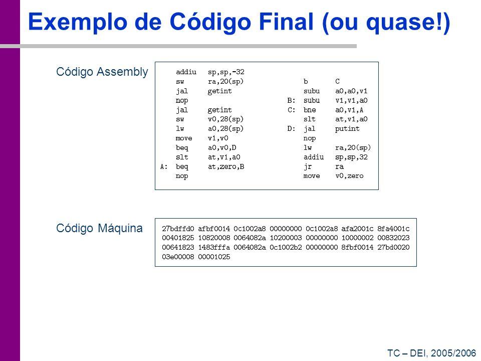 TC – DEI, 2005/2006 Exemplo de Código Final (ou quase!) Código Assembly Código Máquina
