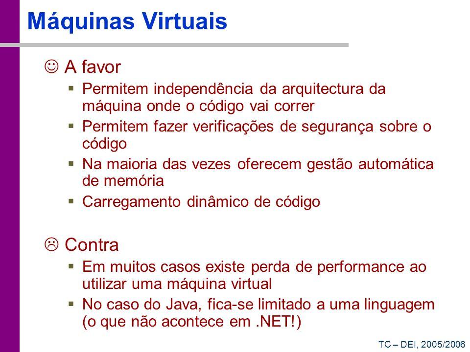 TC – DEI, 2005/2006 Máquinas Virtuais A favor Permitem independência da arquitectura da máquina onde o código vai correr Permitem fazer verificações d