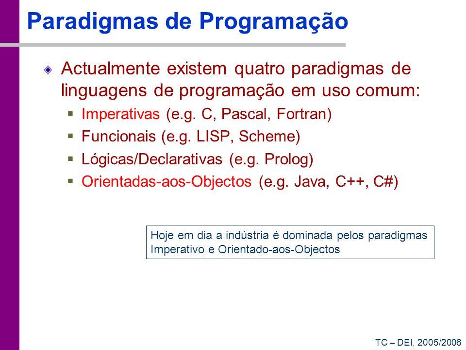 TC – DEI, 2005/2006 Paradigmas de Programação Actualmente existem quatro paradigmas de linguagens de programação em uso comum: Imperativas (e.g. C, Pa