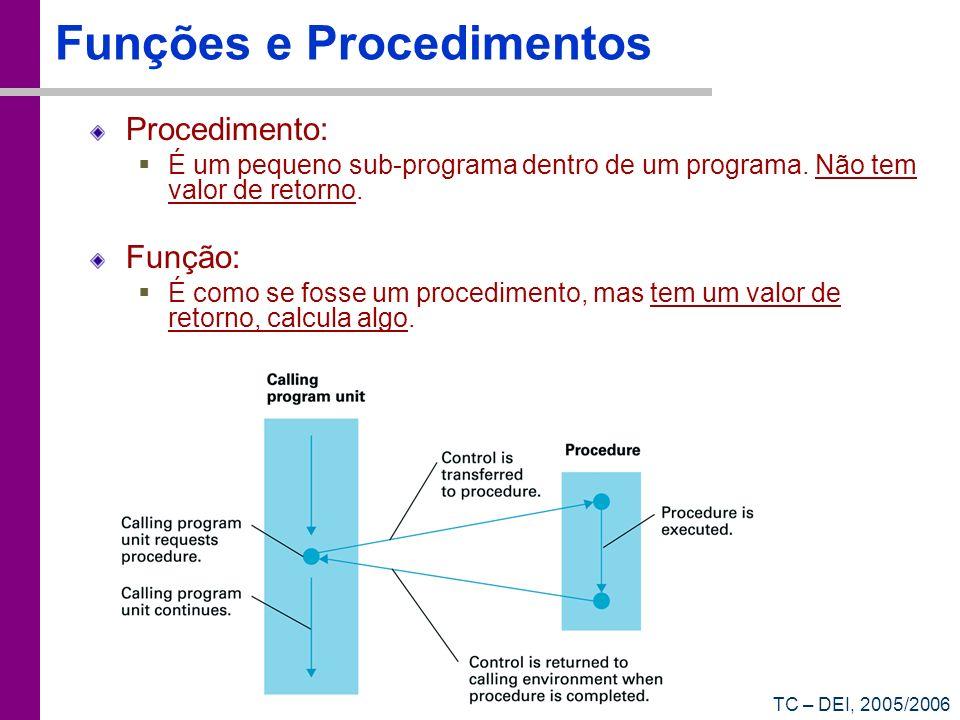 TC – DEI, 2005/2006 Funções e Procedimentos Procedimento: É um pequeno sub-programa dentro de um programa. Não tem valor de retorno. Função: É como se