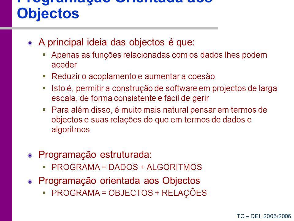 TC – DEI, 2005/2006 Programação Orientada aos Objectos A principal ideia das objectos é que: Apenas as funções relacionadas com os dados lhes podem ac