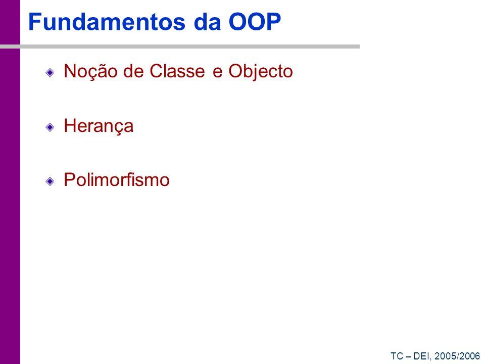 TC – DEI, 2005/2006 Fundamentos da OOP Noção de Classe e Objecto Herança Polimorfismo
