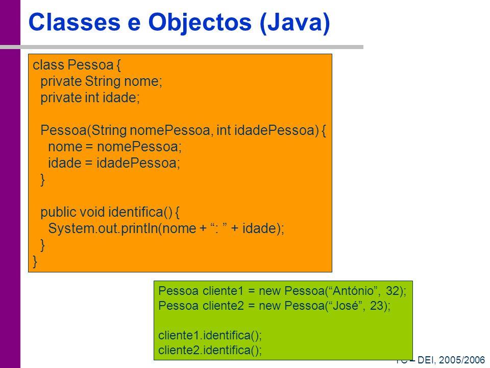 TC – DEI, 2005/2006 Classes e Objectos (Java) class Pessoa { private String nome; private int idade; Pessoa(String nomePessoa, int idadePessoa) { nome