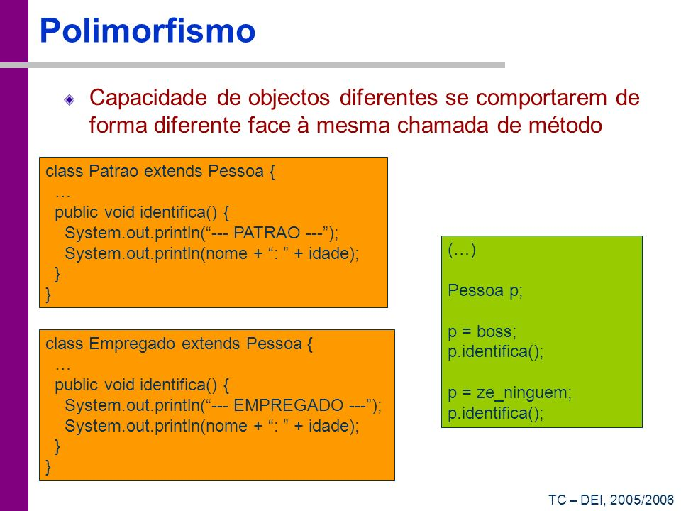 TC – DEI, 2005/2006 Polimorfismo Capacidade de objectos diferentes se comportarem de forma diferente face à mesma chamada de método class Patrao exten