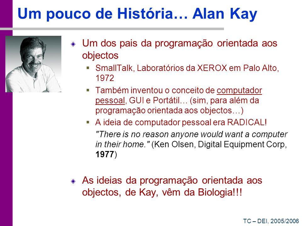TC – DEI, 2005/2006 Um pouco de História… Alan Kay Um dos pais da programação orientada aos objectos SmallTalk, Laboratórios da XEROX em Palo Alto, 19