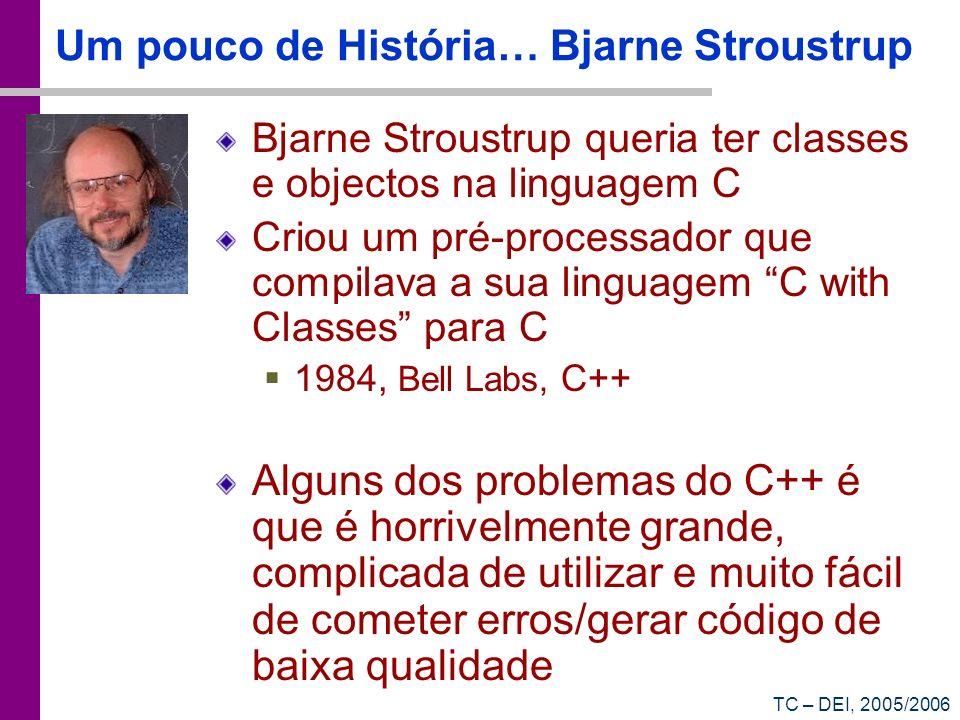 TC – DEI, 2005/2006 Um pouco de História… Bjarne Stroustrup Bjarne Stroustrup queria ter classes e objectos na linguagem C Criou um pré-processador qu