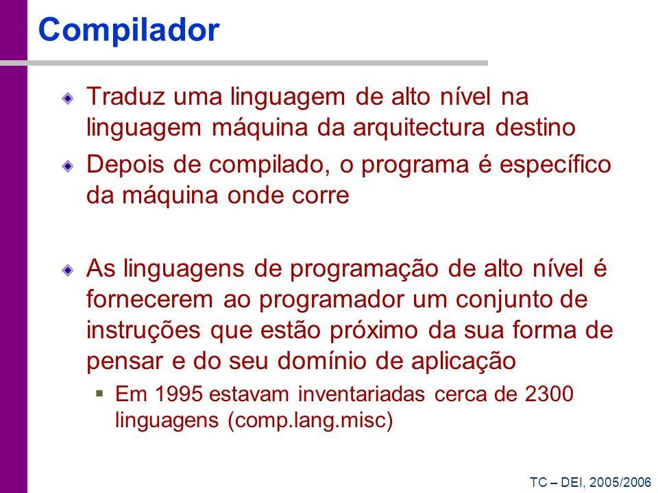TC – DEI, 2005/2006 Compilador Traduz uma linguagem de alto nível na linguagem máquina da arquitectura destino Depois de compilado, o programa é espec