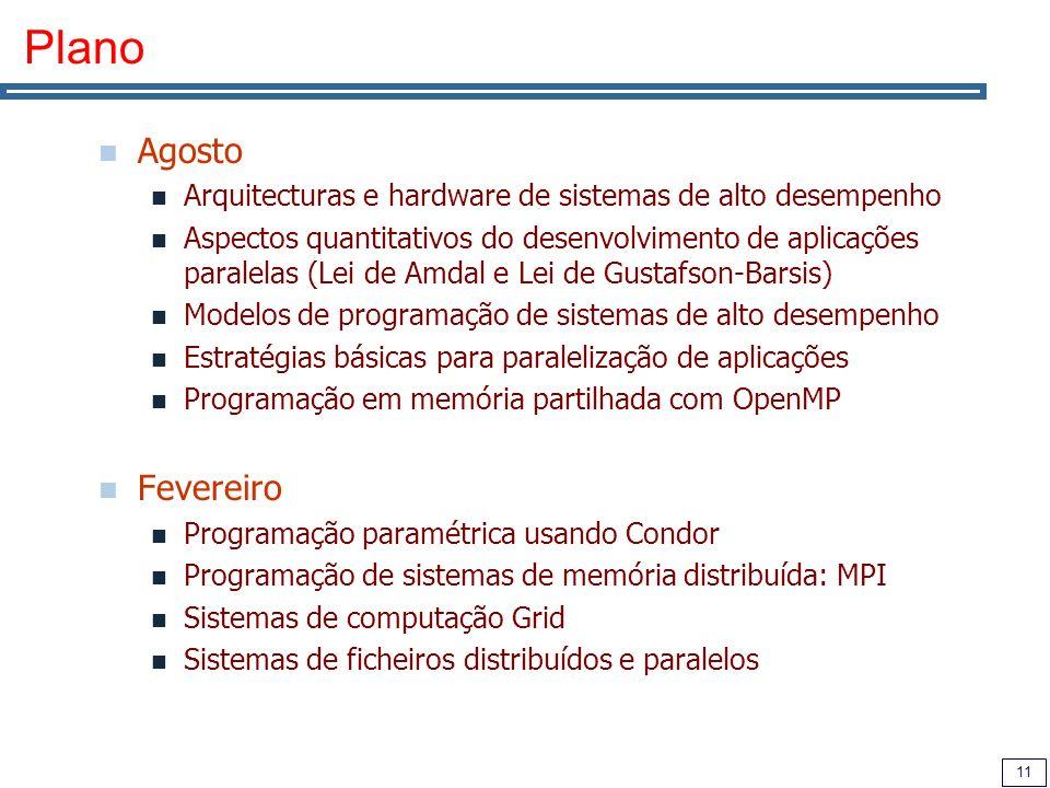 11 Plano Agosto Arquitecturas e hardware de sistemas de alto desempenho Aspectos quantitativos do desenvolvimento de aplicações paralelas (Lei de Amda