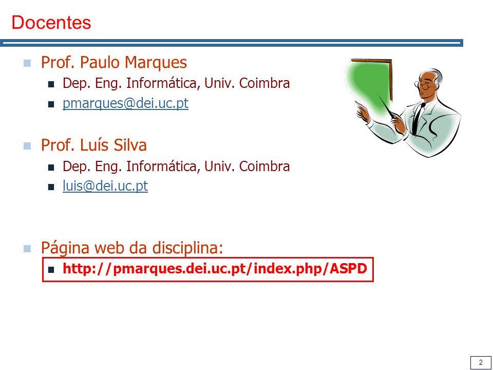 2 Docentes Prof. Paulo Marques Dep. Eng. Informática, Univ. Coimbra pmarques@dei.uc.pt Prof. Luís Silva Dep. Eng. Informática, Univ. Coimbra luis@dei.