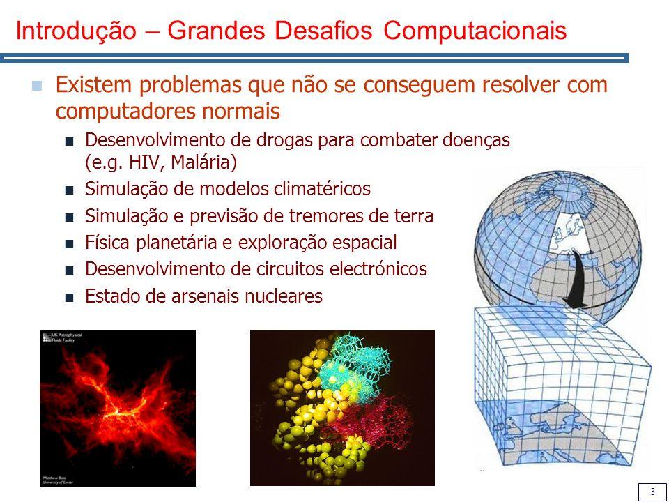 3 Introdução – Grandes Desafios Computacionais Existem problemas que não se conseguem resolver com computadores normais Desenvolvimento de drogas para