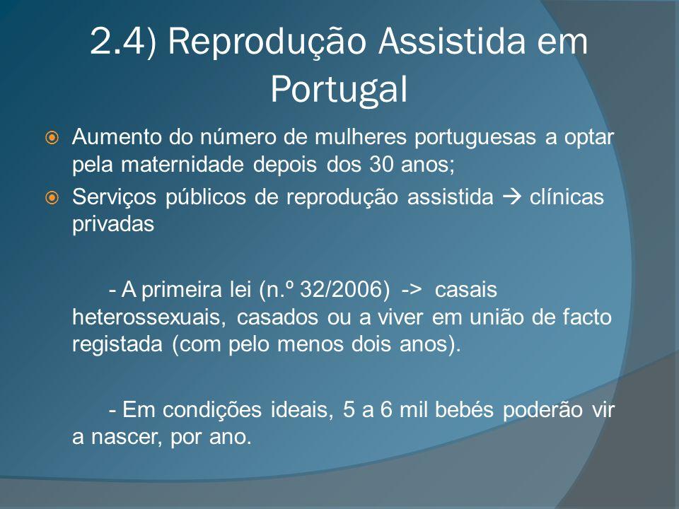 2.4) Reprodução Assistida em Portugal Aumento do número de mulheres portuguesas a optar pela maternidade depois dos 30 anos; Serviços públicos de repr