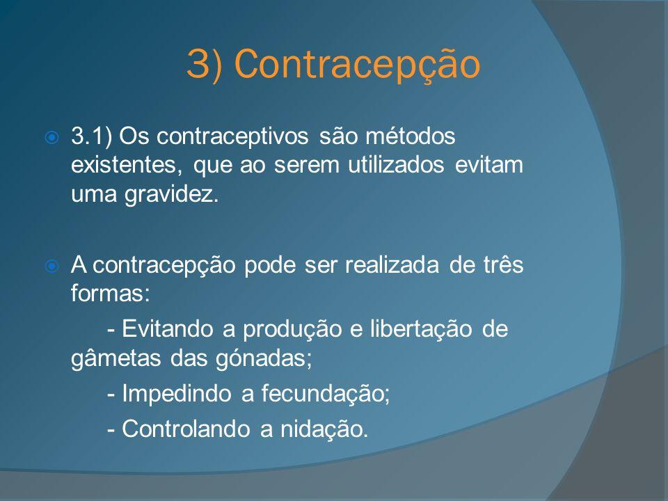 3) Contracepção 3.1) Os contraceptivos são métodos existentes, que ao serem utilizados evitam uma gravidez. A contracepção pode ser realizada de três