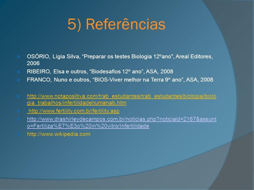 5) Referências OSÓRIO, Lígia Silva, Preparar os testes Biologia 12ºano