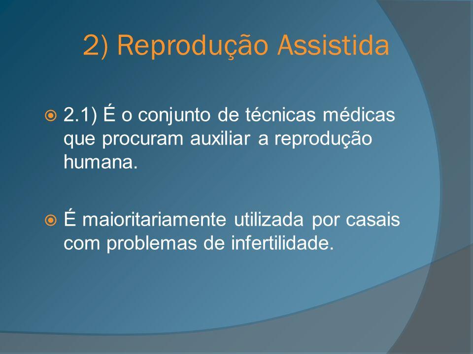 2) Reprodução Assistida 2.1) É o conjunto de técnicas médicas que procuram auxiliar a reprodução humana. É maioritariamente utilizada por casais com p