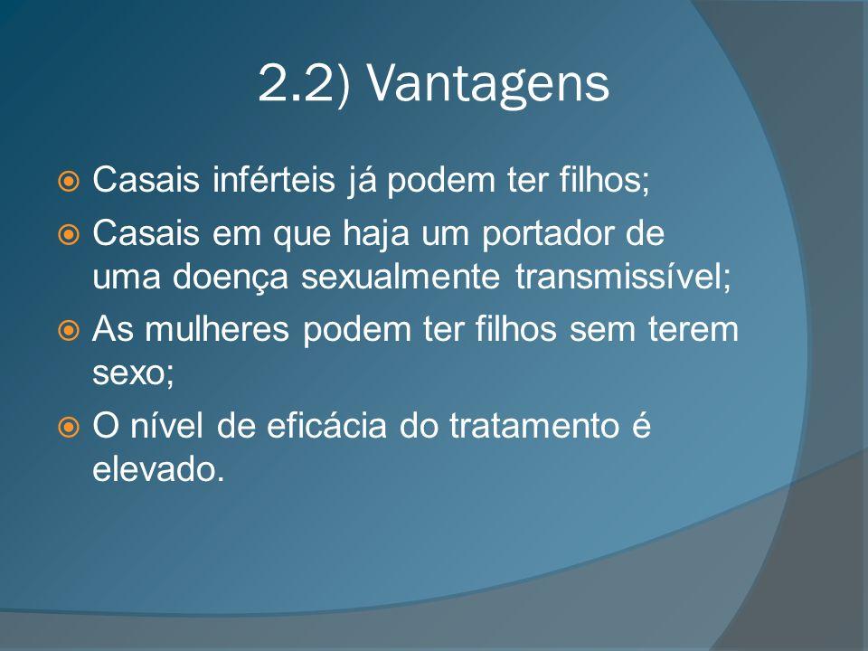2.2) Vantagens Casais inférteis já podem ter filhos; Casais em que haja um portador de uma doença sexualmente transmissível; As mulheres podem ter fil