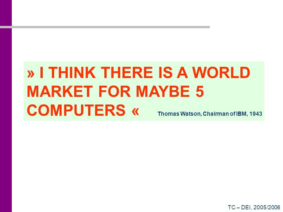 TC – DEI, 2005/2006 Um exemplo: Compaq Presario 6640PT Processador Intel® Pentium® 4 – 2,4 GHz Chipset Intel® i845GE 533MHz Velocidade de bus 512 KB de cache de nível 2 Memória 256 MB DDR-SDRAM 333MHz, em dois DIMMs Armazenamento 60 GB Unidade de disco rígido Ultra DMA (5400 rpm) Unidade de DVD-ROM 16x + Gravador de CDs 48x 12x 48x Unidade de disquete de 3,5 - 1,44 MB Video/Audio ATI® Radeon 9000 c/ 64 MB de memória Solução integrada de som Comunicação Modem V92 56 kbps Interface de rede 10/100BT Interface IEEE 1394 Acessórios Teclado + Rato PS2 Ecrã plano de 17 Expansibilidade 5 baías de expansão 1 porta AGP 3 PCI (2 PCI livres) 6 portas USB 2.0 (2 frontais) 1 porta paralela 1 porta série (RS-232) 1 porta IEEE 1394 1 saída TV