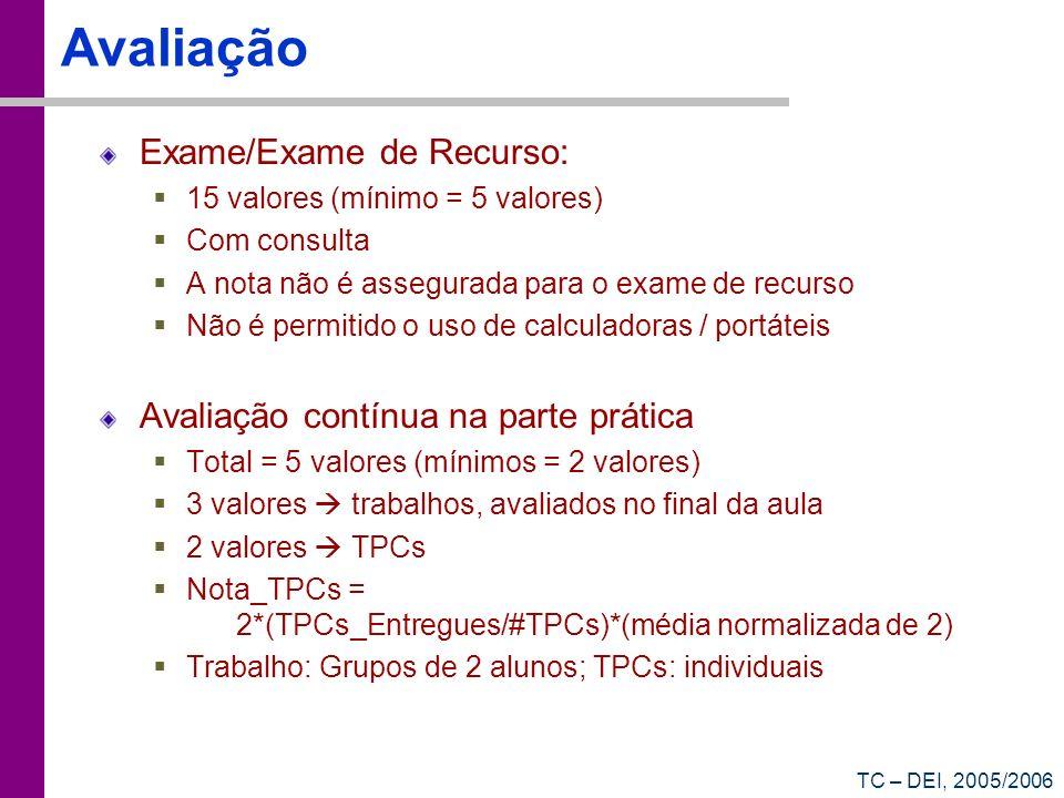 TC – DEI, 2005/2006 Avaliação Exame/Exame de Recurso: 15 valores (mínimo = 5 valores) Com consulta A nota não é assegurada para o exame de recurso Não