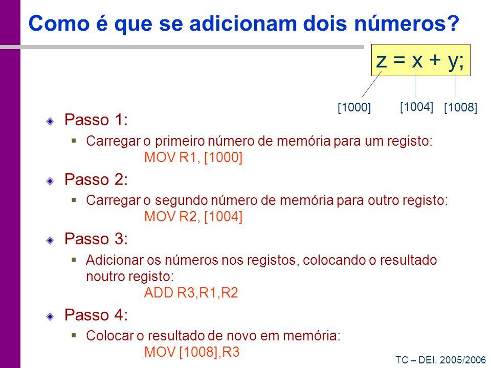 TC – DEI, 2005/2006 Como é que se adicionam dois números? Passo 1: Carregar o primeiro número de memória para um registo: MOV R1, [1000] Passo 2: Carr