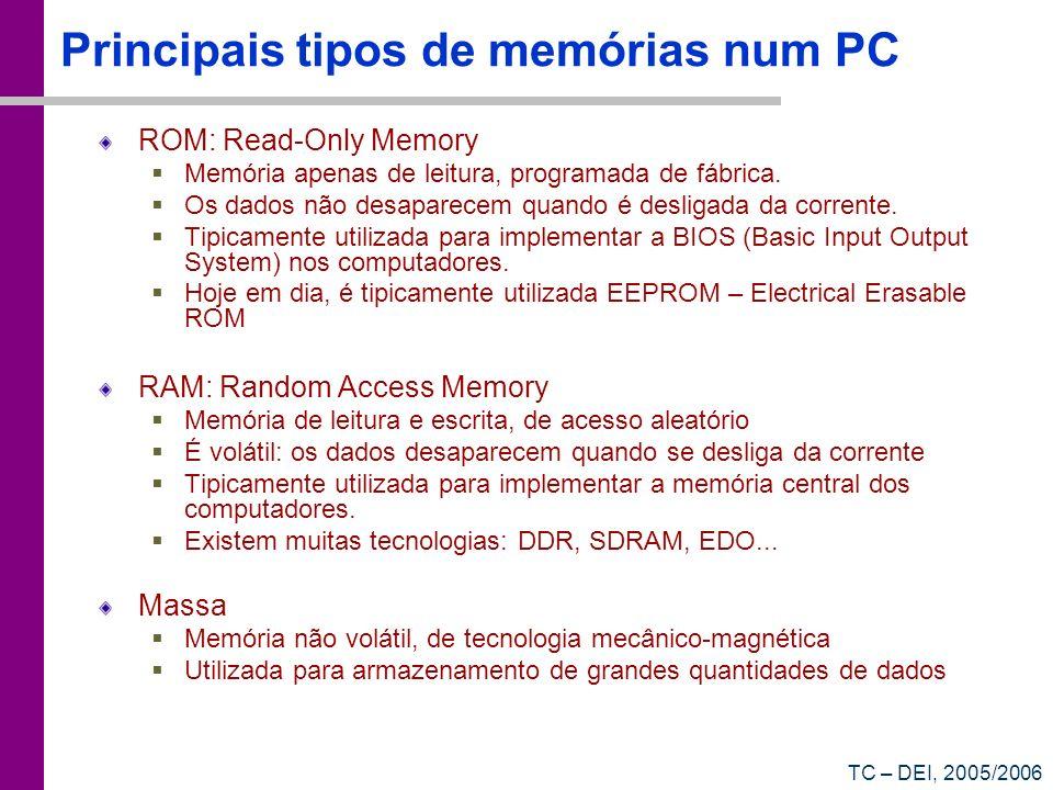 TC – DEI, 2005/2006 Principais tipos de memórias num PC ROM: Read-Only Memory Memória apenas de leitura, programada de fábrica. Os dados não desaparec