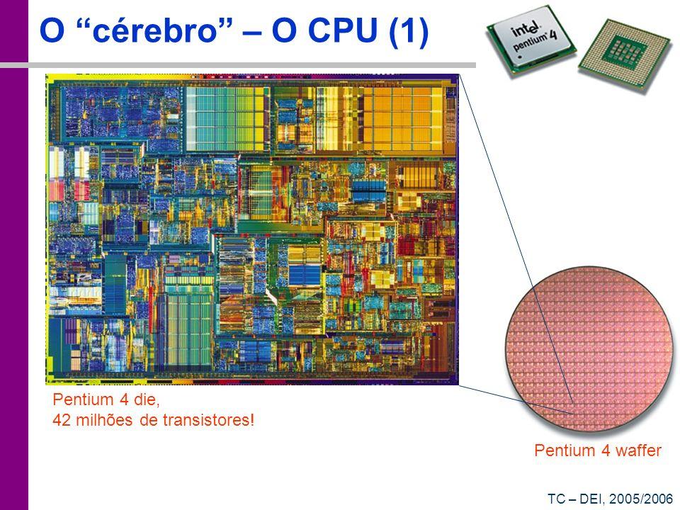 TC – DEI, 2005/2006 O cérebro – O CPU (1) Pentium 4 waffer Pentium 4 die, 42 milhões de transistores!