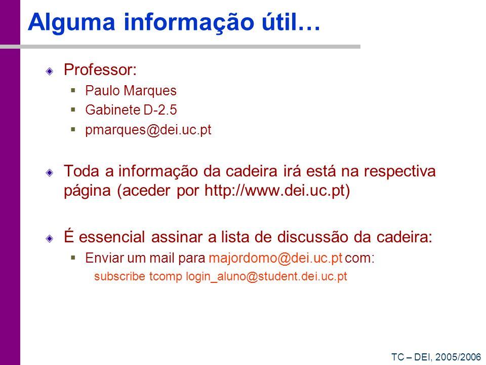 TC – DEI, 2005/2006 Alguma informação útil… Professor: Paulo Marques Gabinete D-2.5 pmarques@dei.uc.pt Toda a informação da cadeira irá está na respec