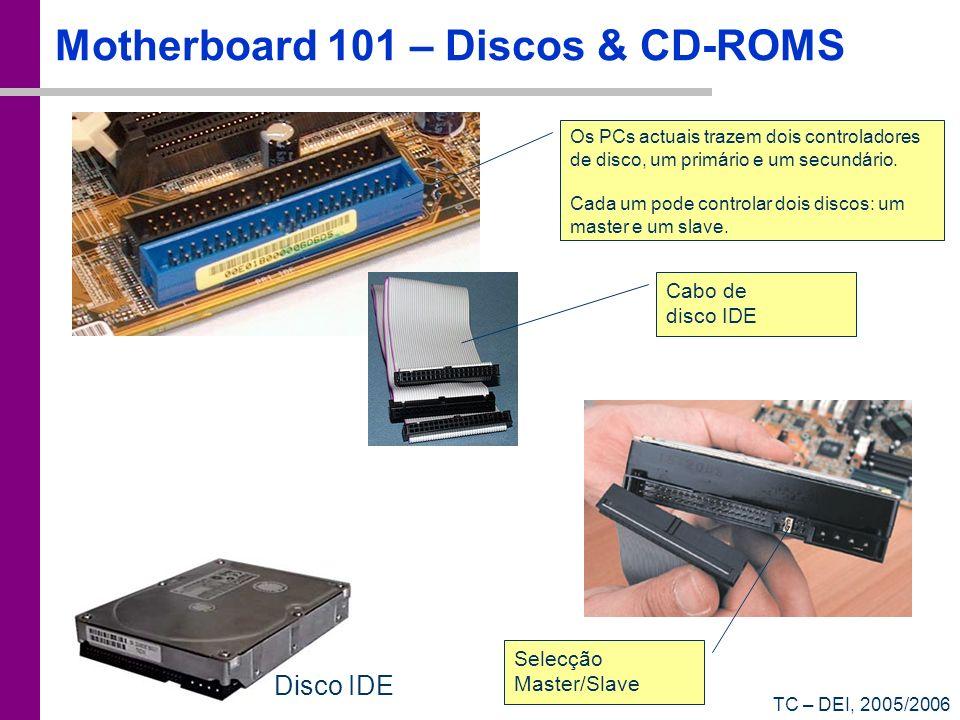 TC – DEI, 2005/2006 Motherboard 101 – Discos & CD-ROMS Os PCs actuais trazem dois controladores de disco, um primário e um secundário. Cada um pode co
